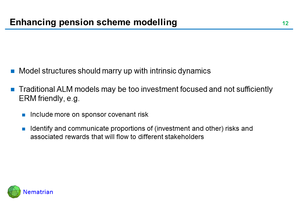 Bullet points include: Model structures should marry up with intrinsic dynamics. Traditional ALM models may be too investment focused and not sufficiently ERM friendly, e.g. Include more on sponsor covenant risk. Identify and communicate proportions of (investment and other) risks and associated rewards that will flow to different stakeholders