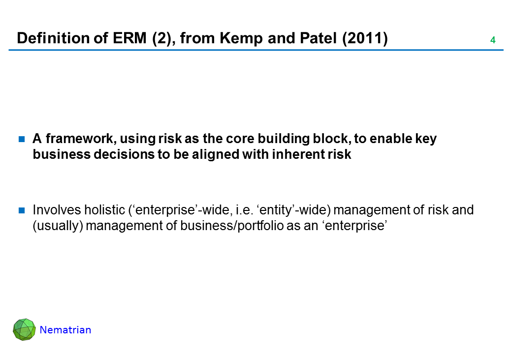 Bullet points include: A framework, using risk as the core building block, to enable key business decisions to be aligned with inherent risk. Involves holistic ('enterprise'-wide, i.e. 'entity'-wide) management of risk and (usually) management of business/portfolio as an 'enterprise'