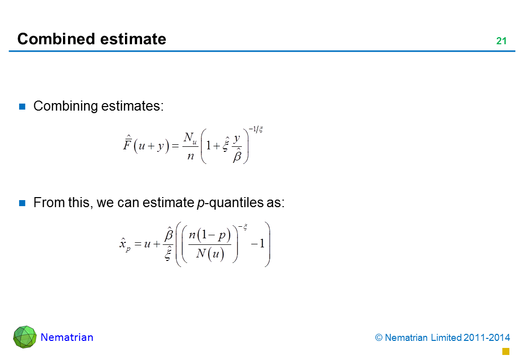 Bullet points include: Combining estimates: From this, we can estimate p-quantiles as:
