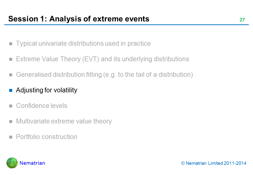 Bullet points include: Adjusting for volatility