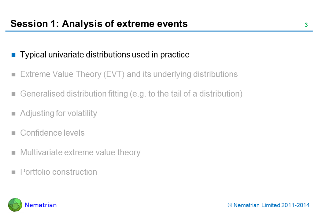 Bullet points include: Typical univariate distributions used in practice