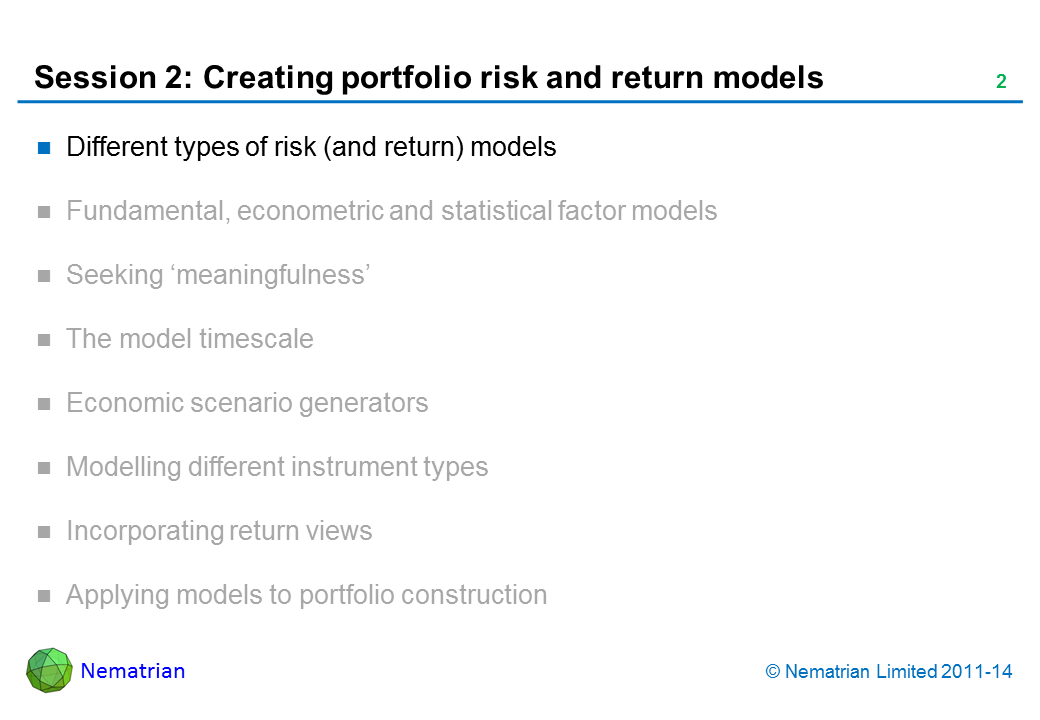 Bullet points include: Different types of risk (and return) models