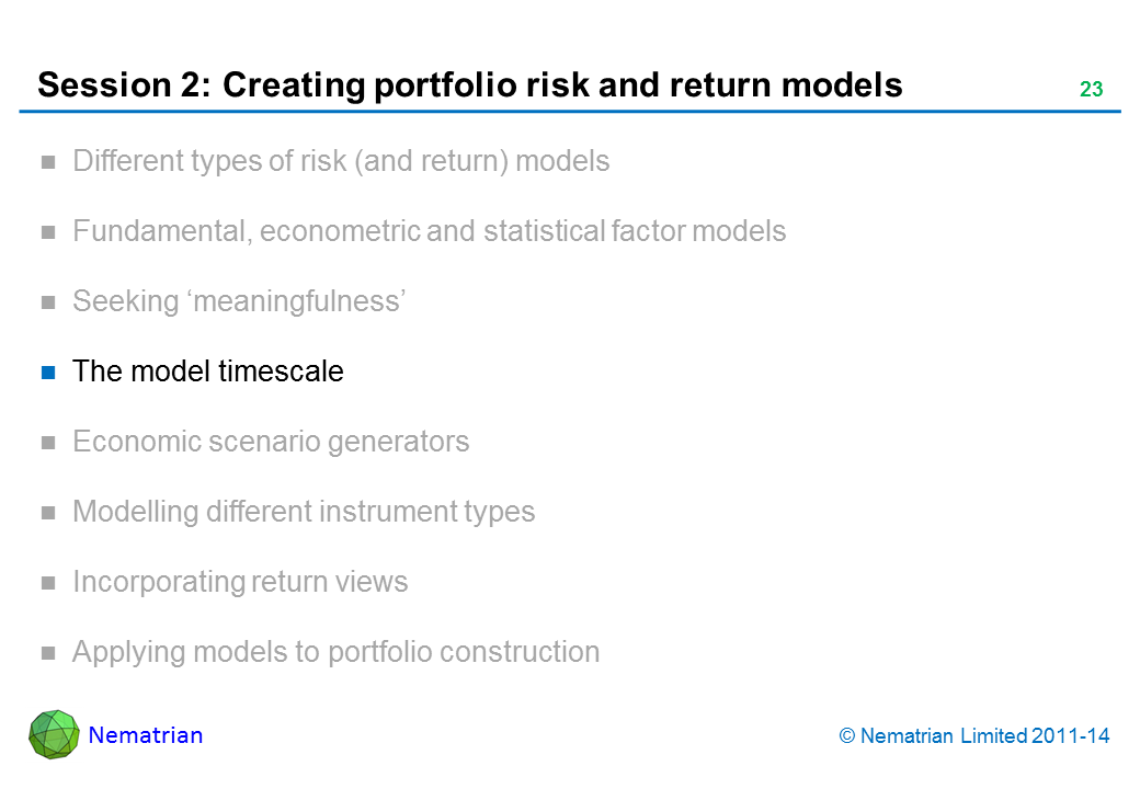 Bullet points include: The model timescale
