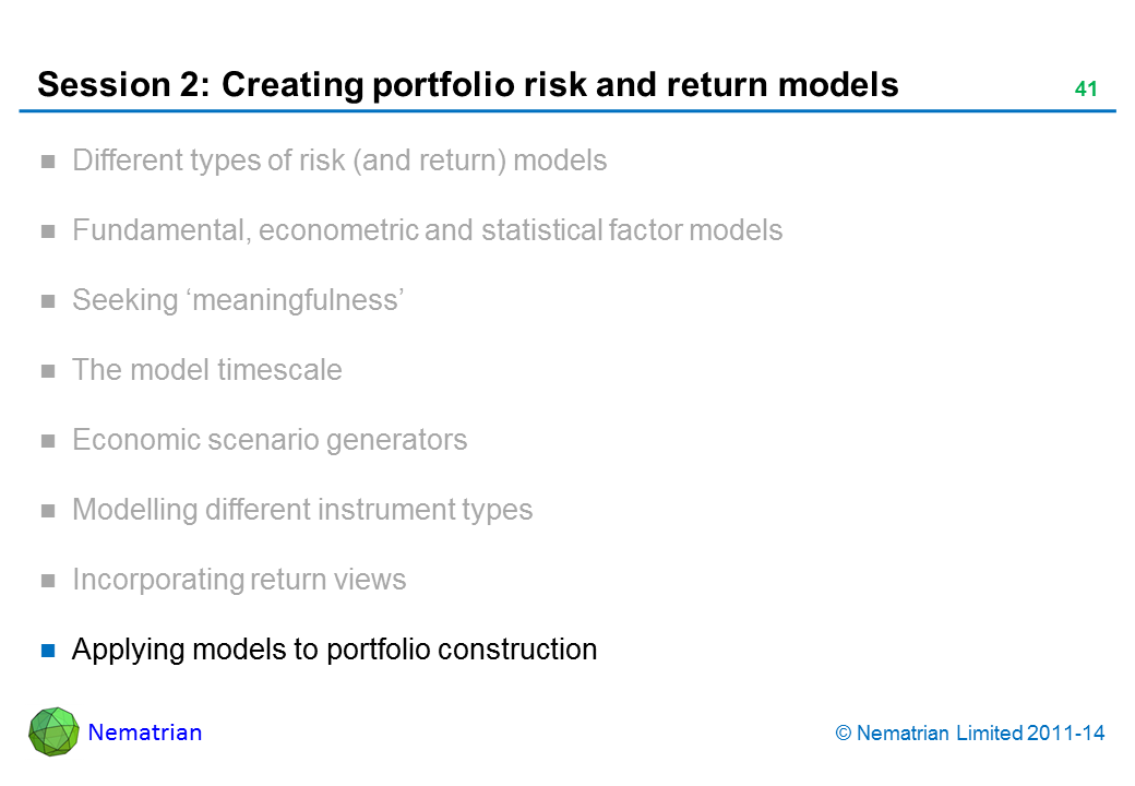 Bullet points include: Applying models to portfolio construction
