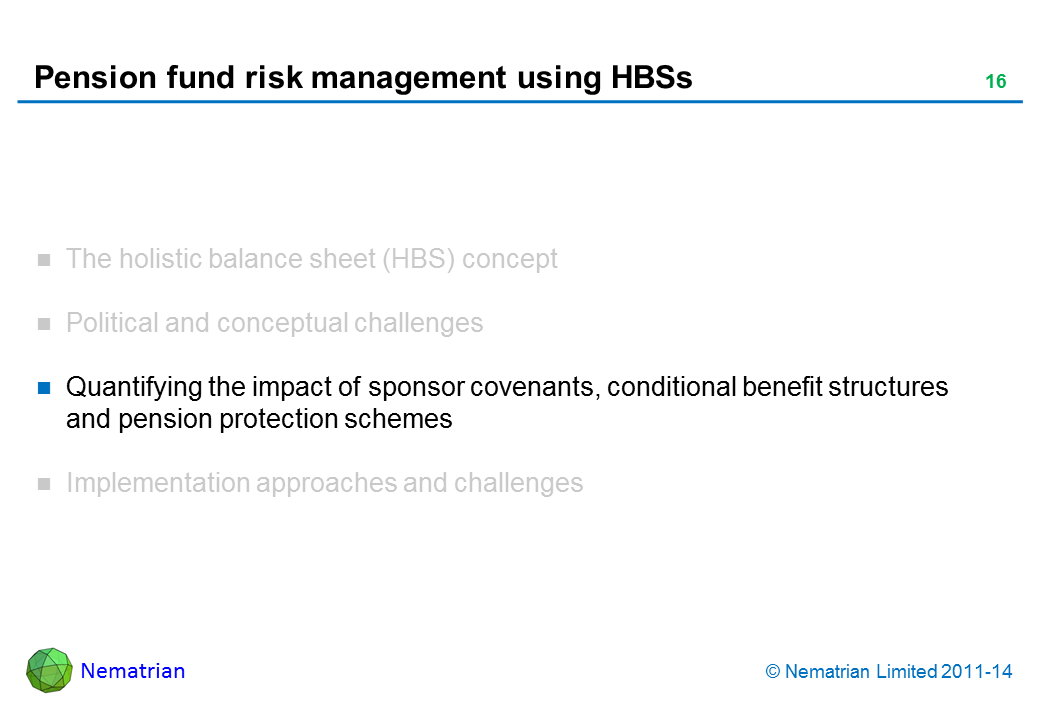Bullet points include: Quantifying the impact of sponsor covenants, conditional benefit structures and pension protection schemes
