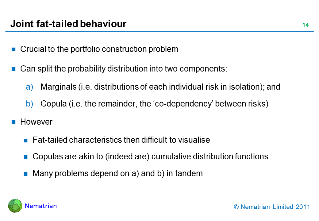 Bullet points include: Crucial to the portfolio construction problem. Can split the probability distribution into two components: Marginals (i.e. distributions of each individual risk in isolation); and Copula (i.e. the remainder, the 'co-dependency' between risks). However Fat-tailed characteristics then difficult to visualise Copulas are akin to (indeed are) cumulative distribution functions Many problems depend on a) and b) in tandem