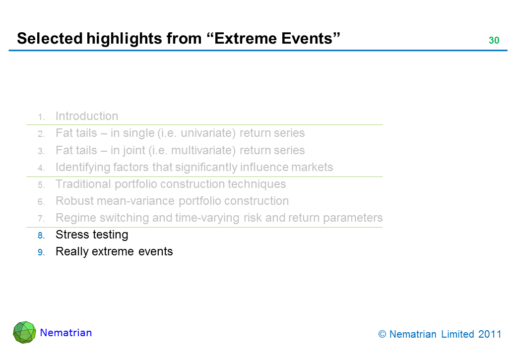 Bullet points include: Stress testing. Really extreme events
