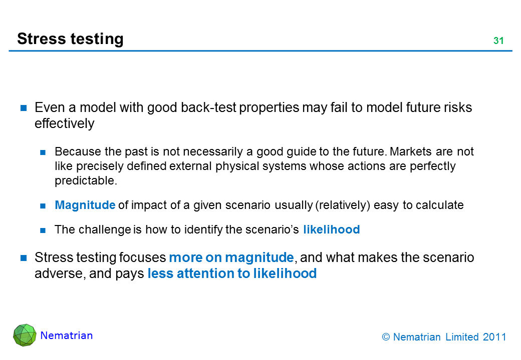 Bullet points include: Even a model with good back-test properties may fail to model future risks effectively. Because the past is not necessarily a good guide to the future. Markets are not like precisely defined external physical systems whose actions are perfectly predictable. Magnitude of impact of a given scenario usually (relatively) easy to calculate. The challenge is how to identify the scenario's likelihood. Stress testing focuses more on magnitude, and what makes the scenario adverse, and pays less attention to likelihood