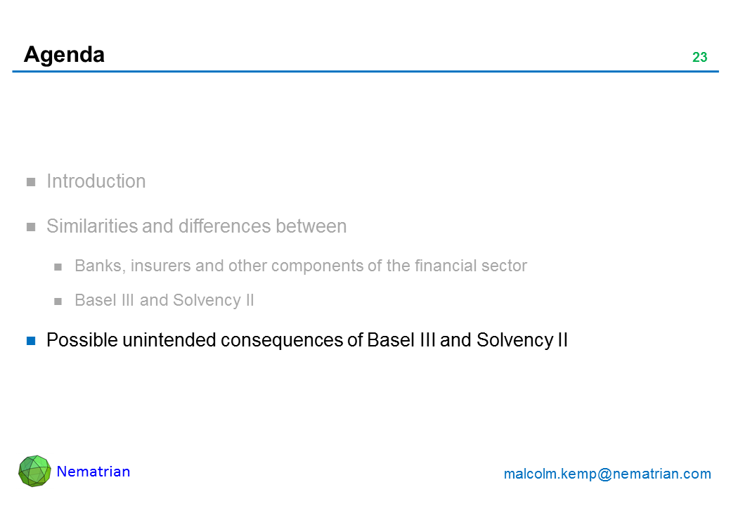 Bullet points include: Possible unintended consequences of Basel III and Solvency II