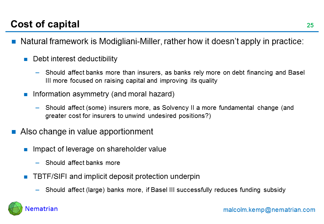 Bullet points include: Natural framework is Modigliani-Miller, rather how it doesn't apply in practice: Debt interest deductibility. Should affect banks more than insurers, as banks rely more on debt financing and Basel III more focused on raising capital and improving its quality. Information asymmetry (and moral hazard). Should affect (some) insurers more, as Solvency II a more fundamental change (and greater cost for insurers to unwind undesired positions?). Also change in value apportionment. Impact of leverage on shareholder value. Should affect banks more. TBTF/SIFI and implicit deposit protection underpin. Should affect (large) banks more, if Basel III successfully reduces funding subsidy