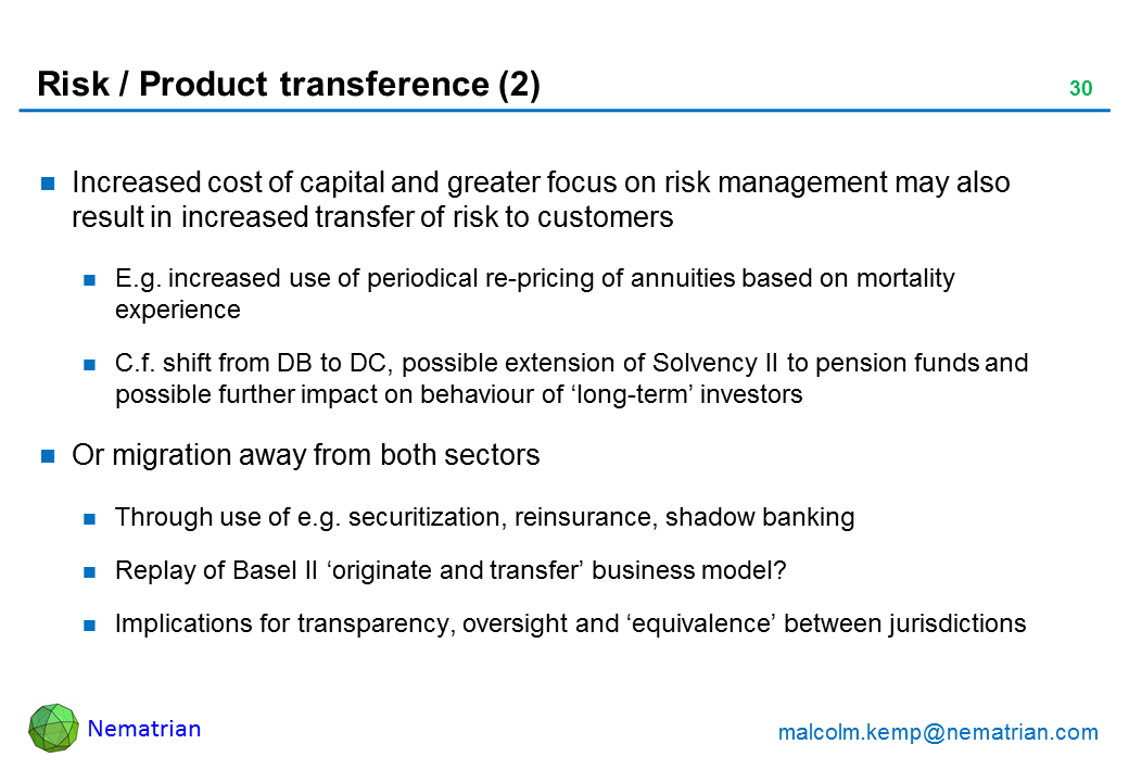 Bullet points include: Increased cost of capital and greater focus on risk management may also result in increased transfer of risk to customers. E.g. increased use of periodical re-pricing of annuities based on mortality experience. C.f. shift from DB to DC, possible extension of Solvency II to pension funds and possible further impact on behaviour of 'long-term' investors. Or migration away from both sectors. Through use of e.g. securitization, reinsurance, shadow banking. Replay of Basel II 'originate and transfer' business model? Implications for transparency, oversight and 'equivalence' between jurisdictions