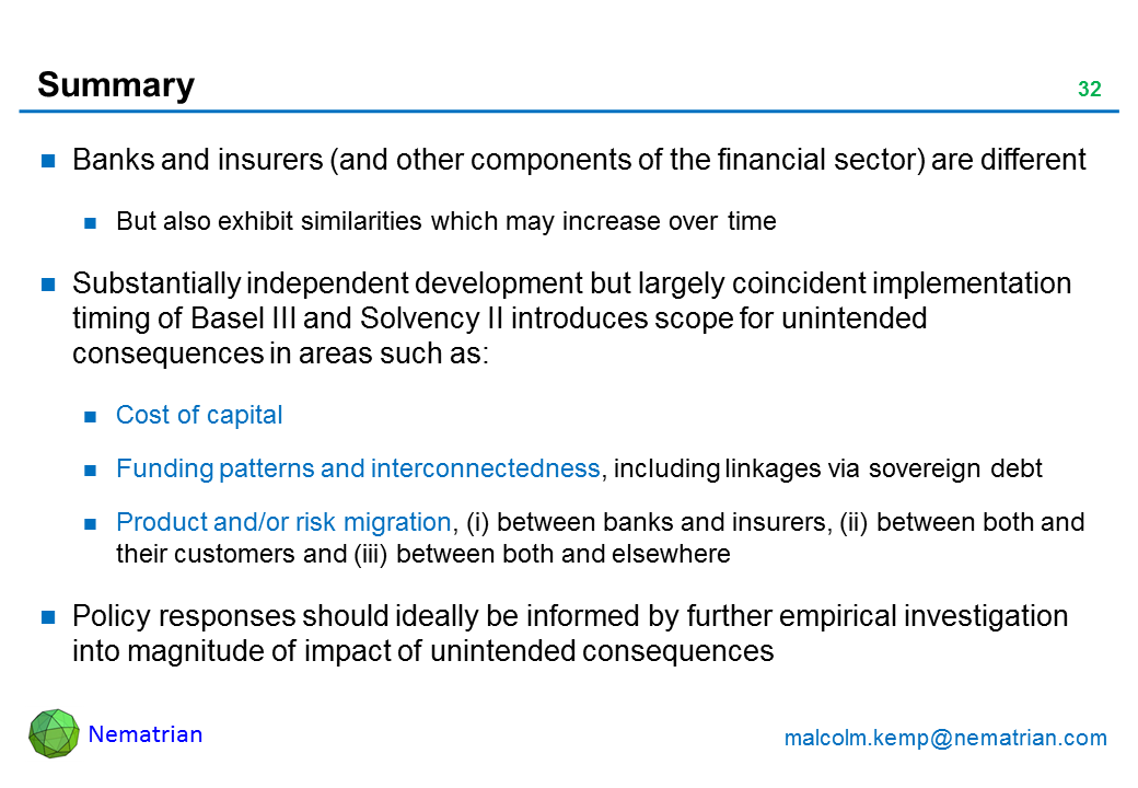 Bullet points include: Banks and insurers (and other components of the financial sector) are different. But also exhibit similarities which may increase over time. Substantially independent development but largely coincident implementation timing of Basel III and Solvency II introduces scope for unintended consequences in areas such as: Cost of capital. Funding patterns and interconnectedness, including linkages via sovereign debt. Product and/or risk migration, (i) between banks and insurers, (ii) between both and their customers and (iii) between both and elsewhere. Policy responses should ideally be informed by further empirical investigation into magnitude of impact of unintended consequences