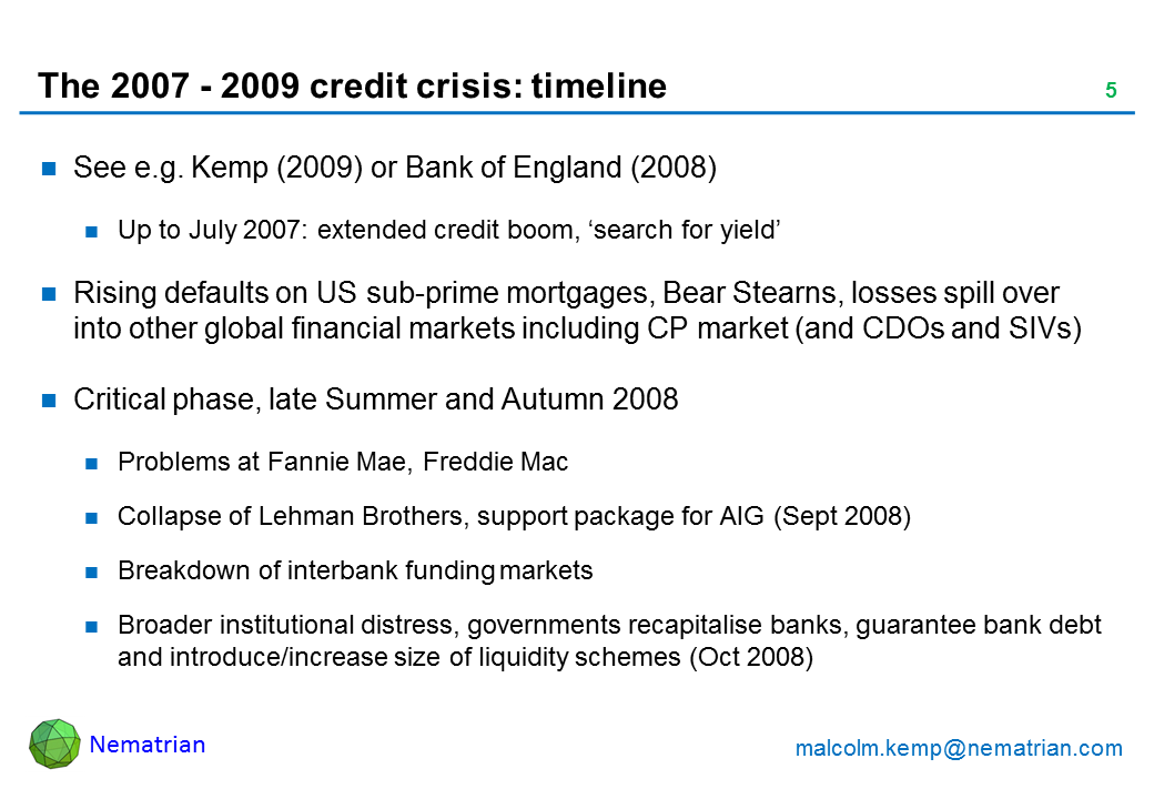 Bullet points include: See e.g. Kemp (2009) or Bank of England (2008). Up to July 2007: extended credit boom, 'search for yield'. Rising defaults on US sub-prime mortgages, Bear Stearns, losses spill over into other global financial markets including CP market (and CDOs and SIVs). Critical phase, late Summer and Autumn 2008. Problems at Fannie Mae, Freddie Mac. Collapse of Lehman Brothers, support package for AIG (Sept 2008). Breakdown of interbank funding markets. Broader institutional distress, governments recapitalise banks, guarantee bank debt and introduce/increase size of liquidity schemes (Oct 2008)