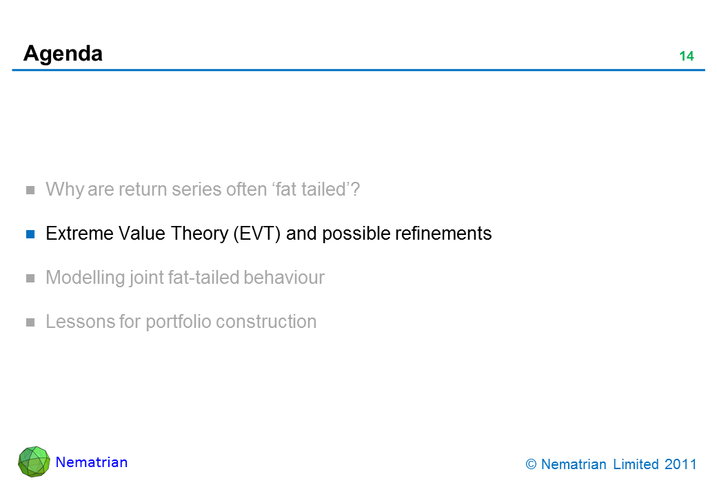 Bullet points include: Extreme Value Theory (EVT) and possible refinements