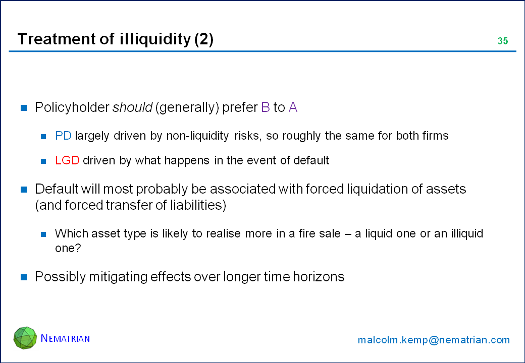 Bullet points include: Policyholder should (generally) prefer B to A. PD largely driven by non-liquidity risks, so roughly the same for both firms. LGD driven by what happens in the event of default. Default will most probably be associated with forced liquidation of assets (and forced transfer of liabilities). Which asset type is likely to realise more in a fire sale – a liquid one or an illiquid one? Possibly mitigating effects over longer time horizons