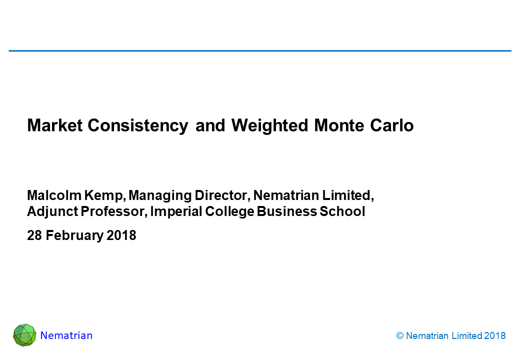 Bullet points include: Malcolm Kemp, Managing Director, Nematrian Limited, Adjunct Professor, Imperial College Business School 28 February 2018